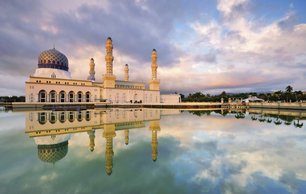 Kota Kinabalu Floating Mosque with Dramatic Clouds and Reflection.