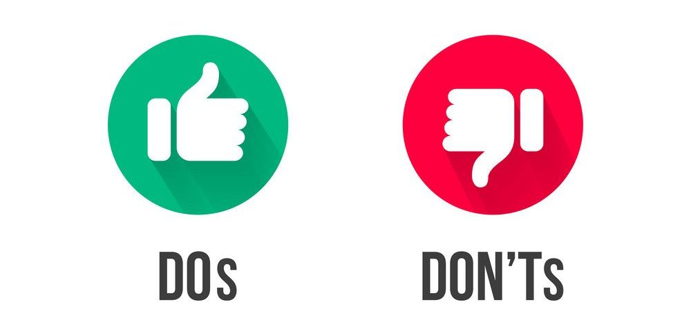 Dos and Donts thumb up and down vector icons. Vector red and green circle symbols for Yes and No and Bad vs Good signs