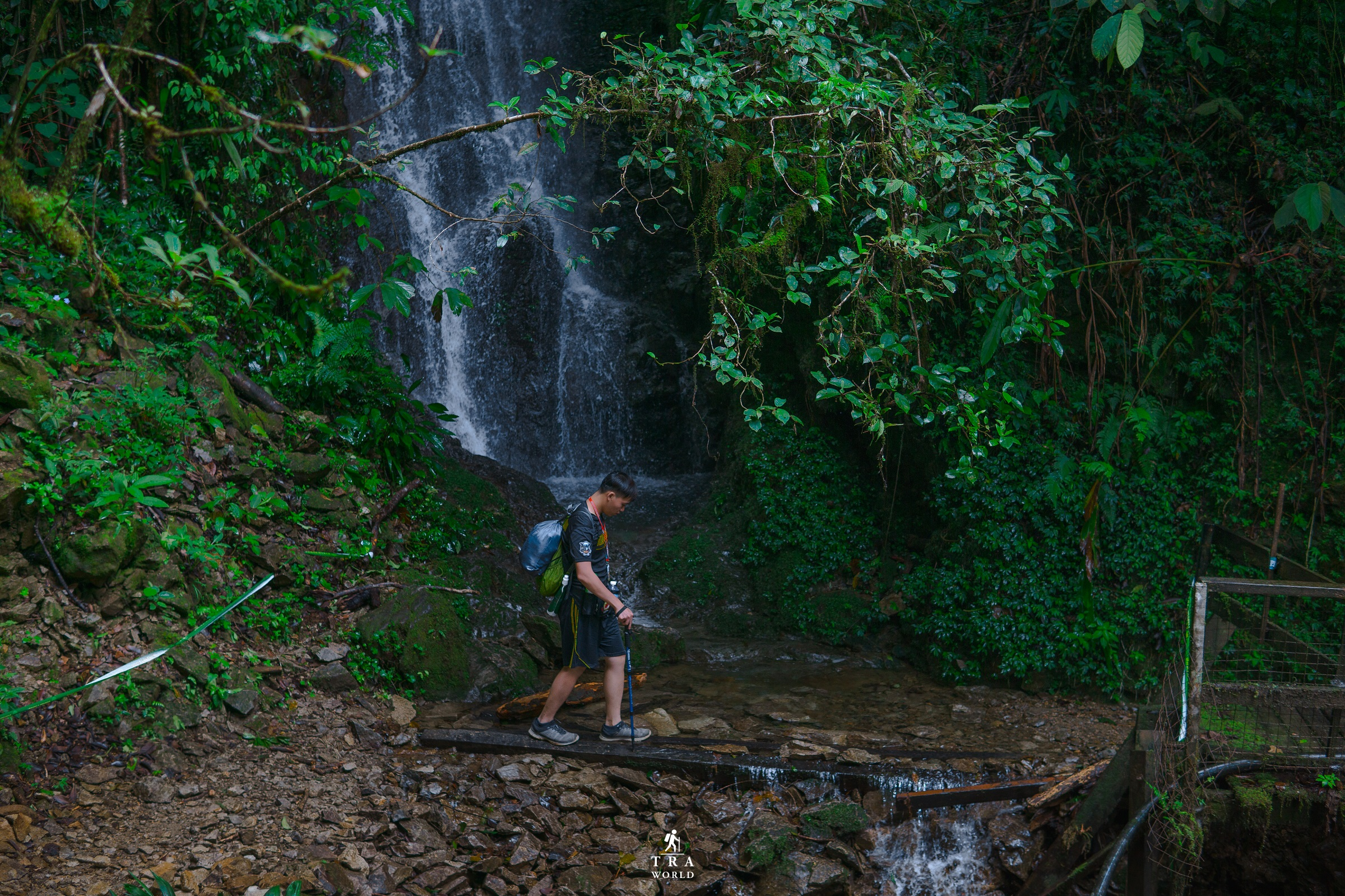 Crossing the starting waterfall of Mount Kinabalu.